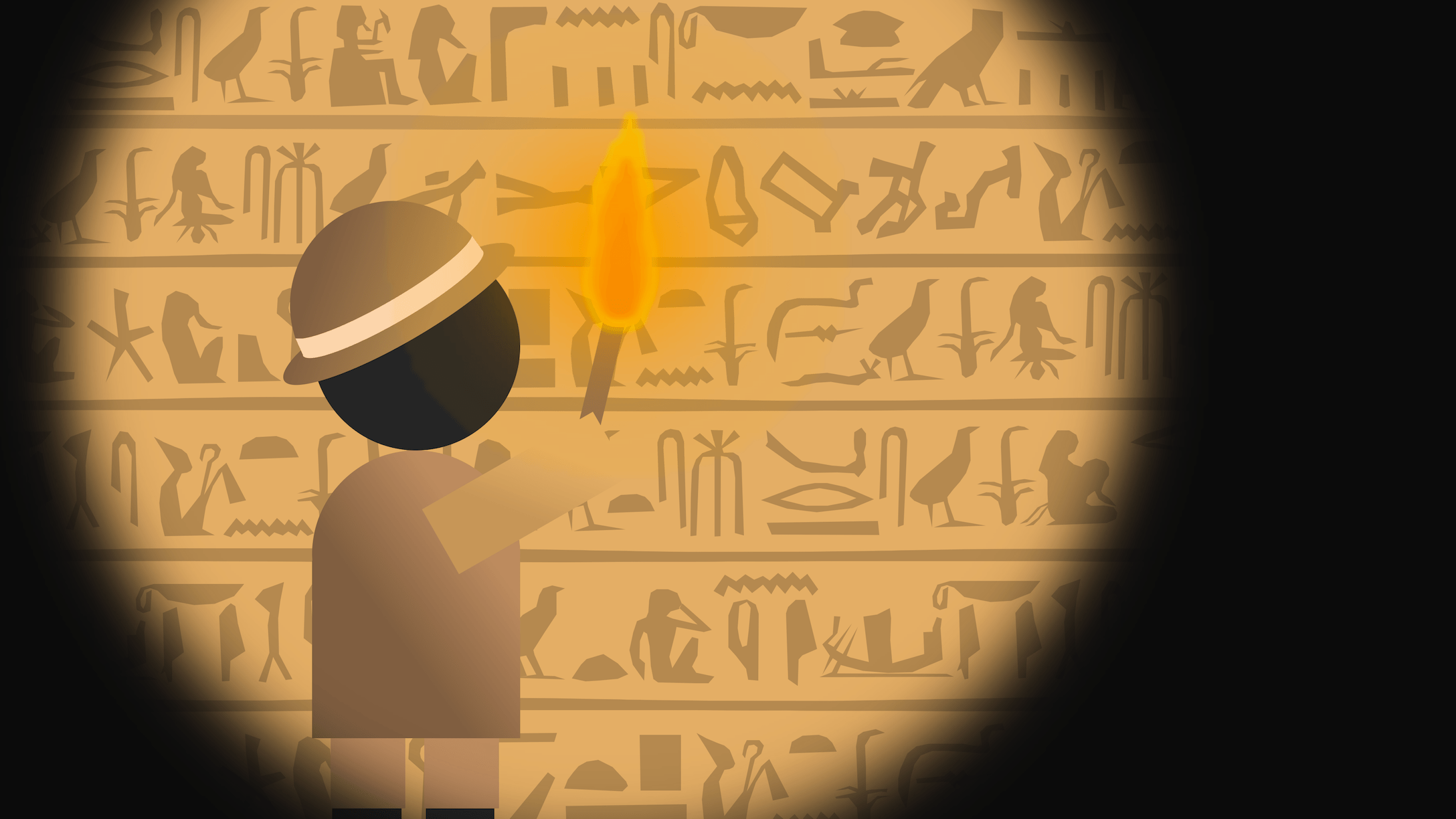 An archaeologist investigates some unusual hieroglyphs inside an Egyptian tomb