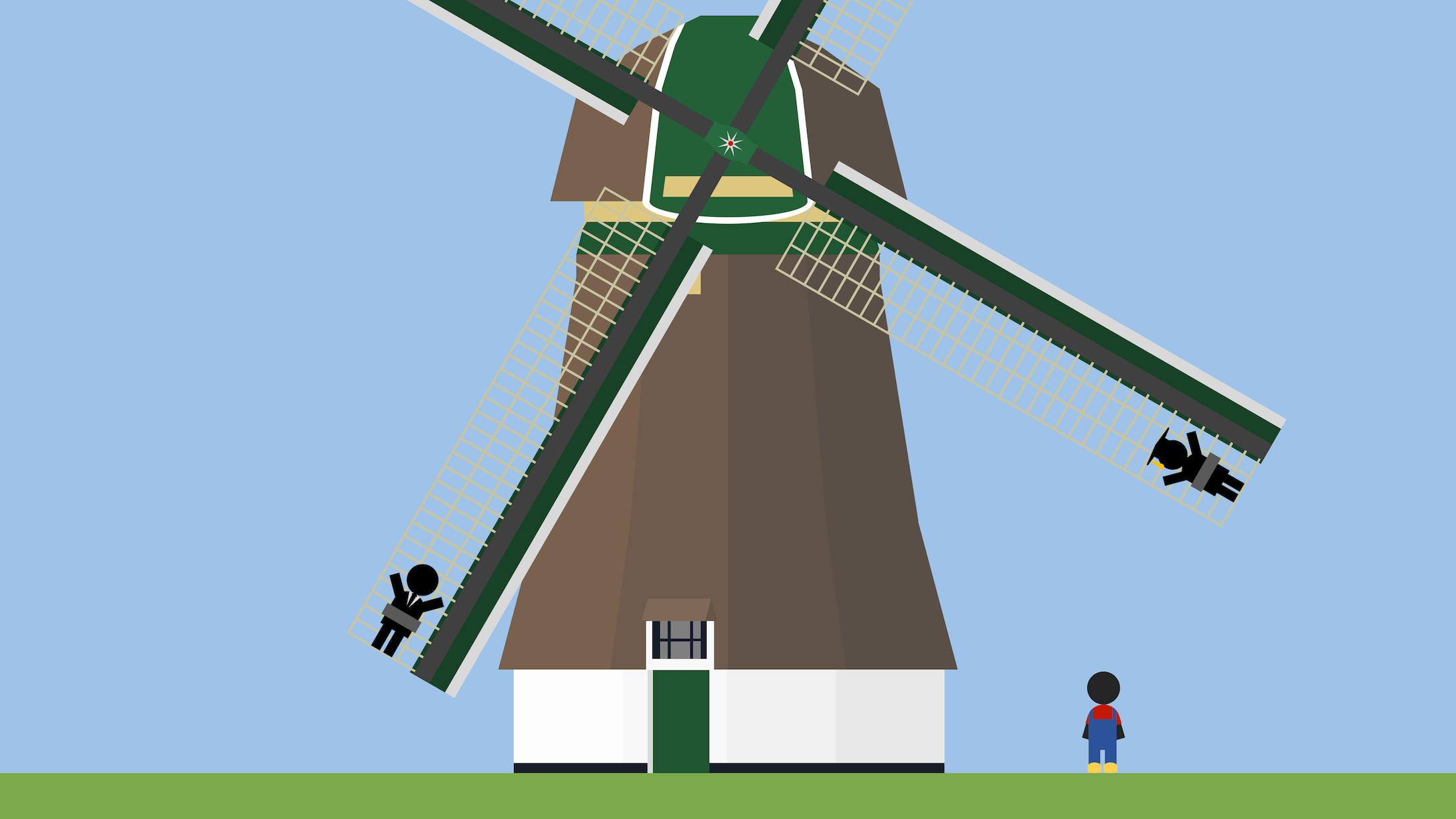 People with different jobs, tied to a Dutch windmill