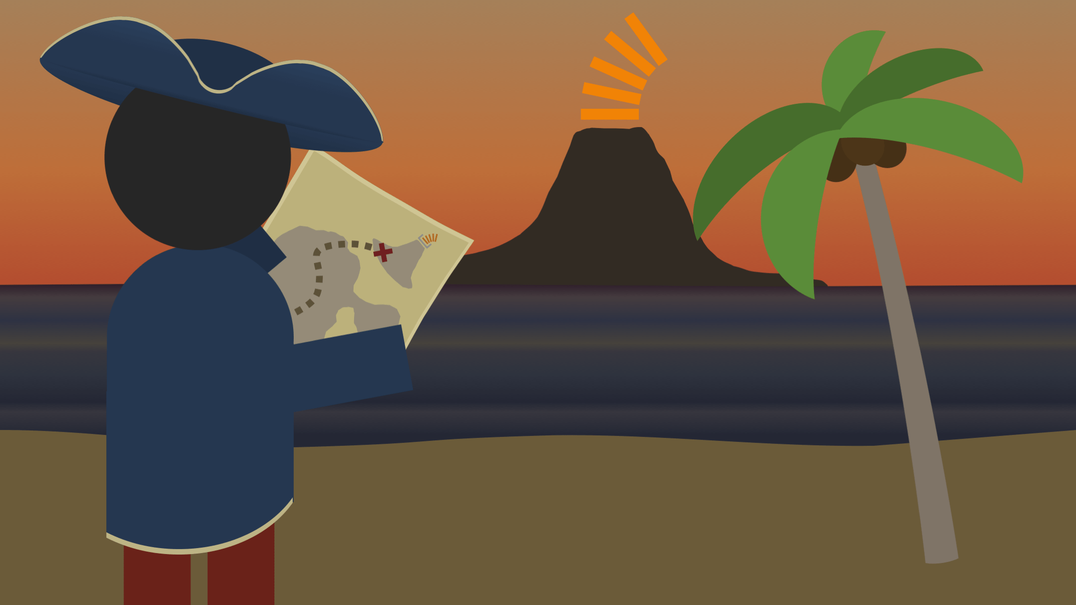 A pirate examines a treasure map