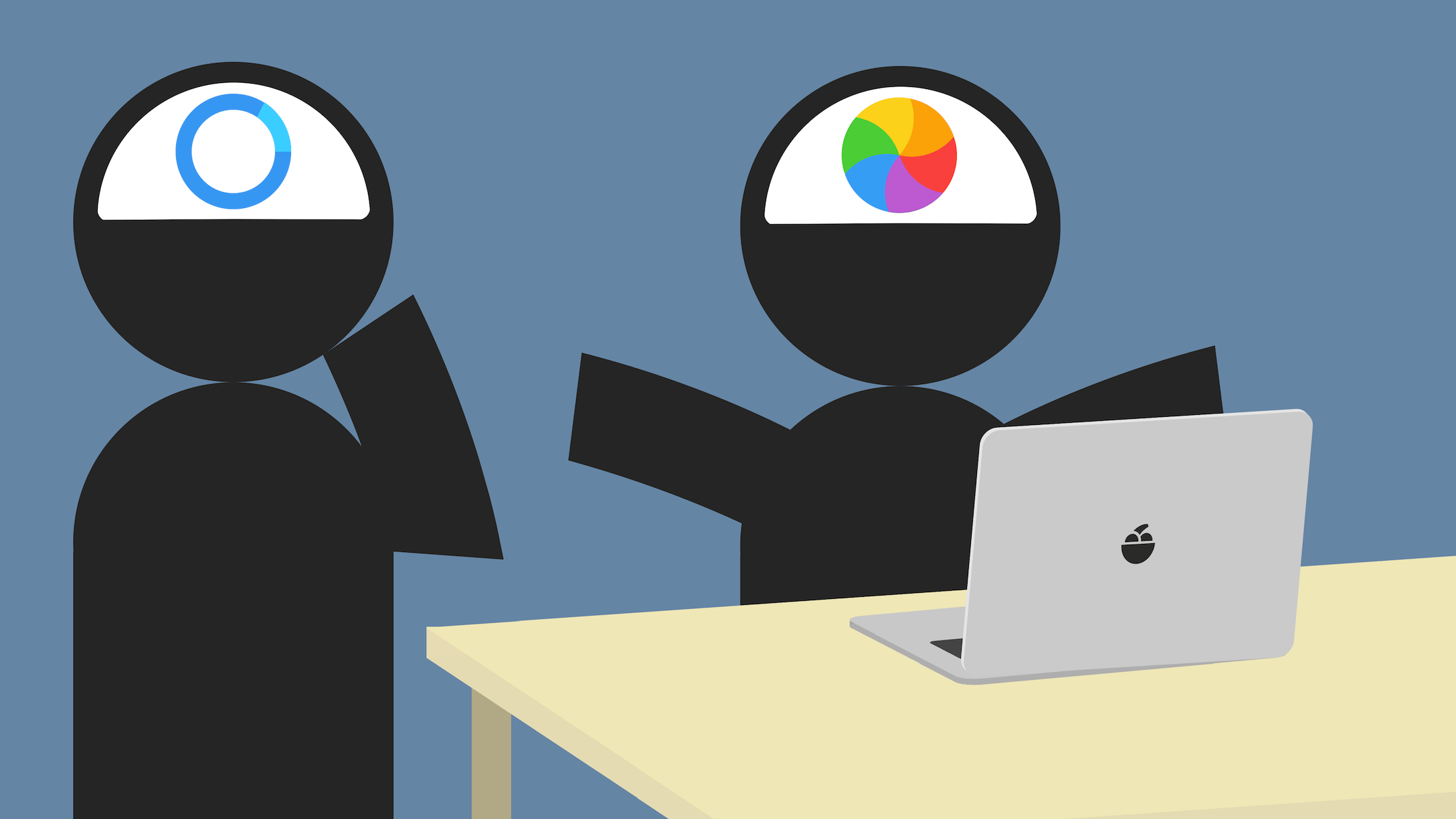 Two programmers with the dreaded wait cursor and beach ball in their heads