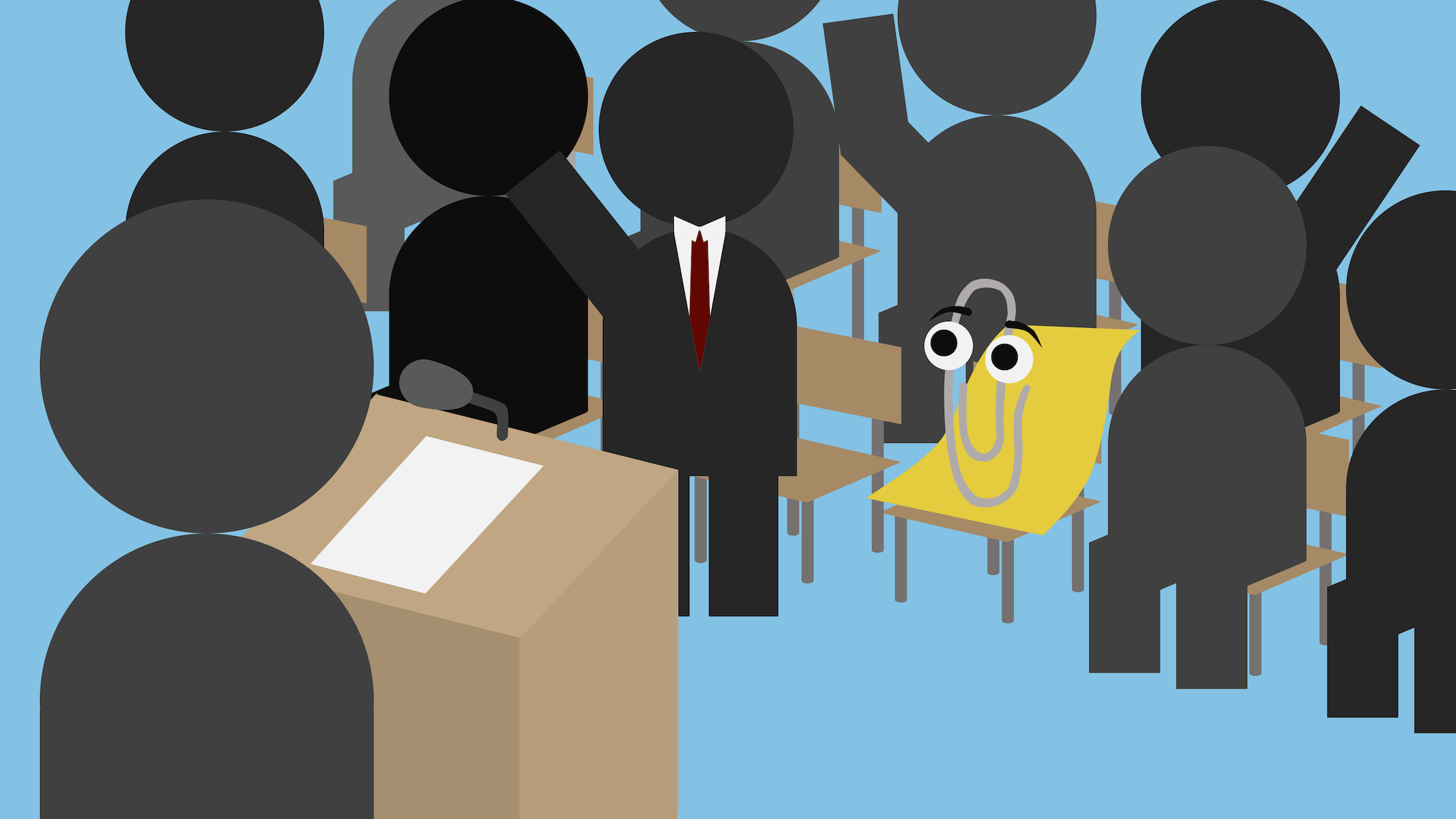 Clippy attends a press conference