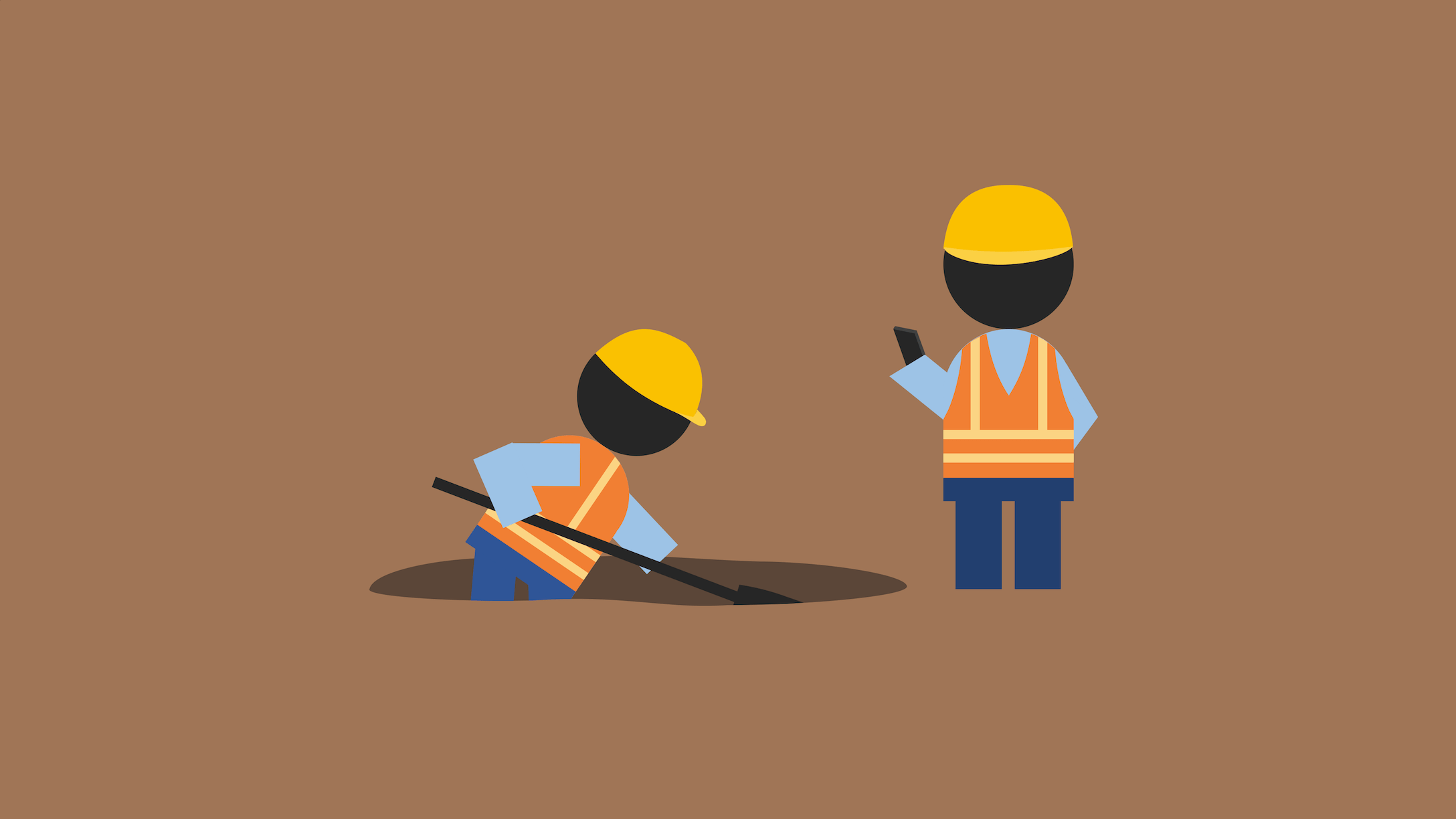 Construction worker pretends to check the work of his colleague