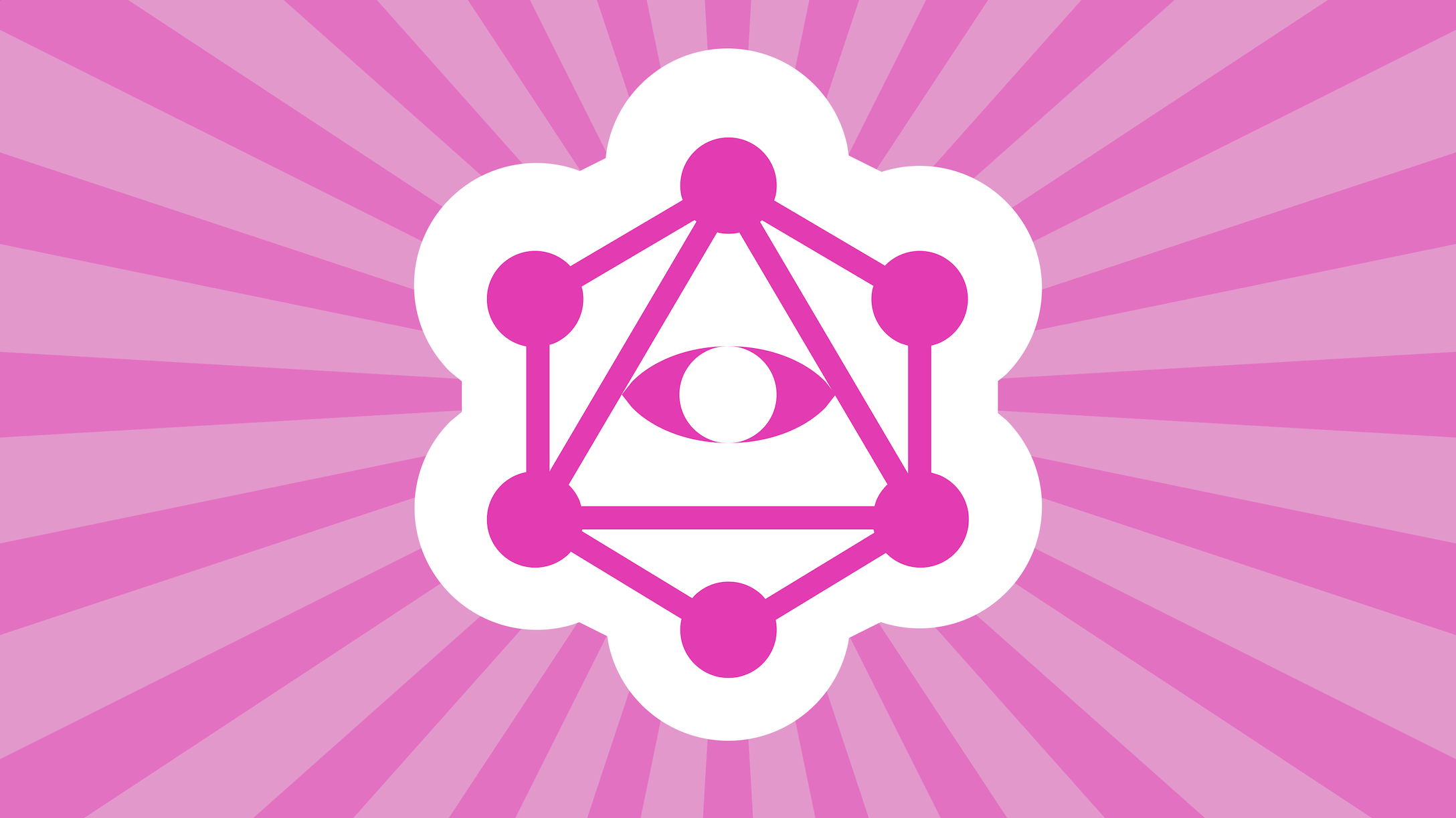 GraphQL logo with eye, surrounded by rays of light