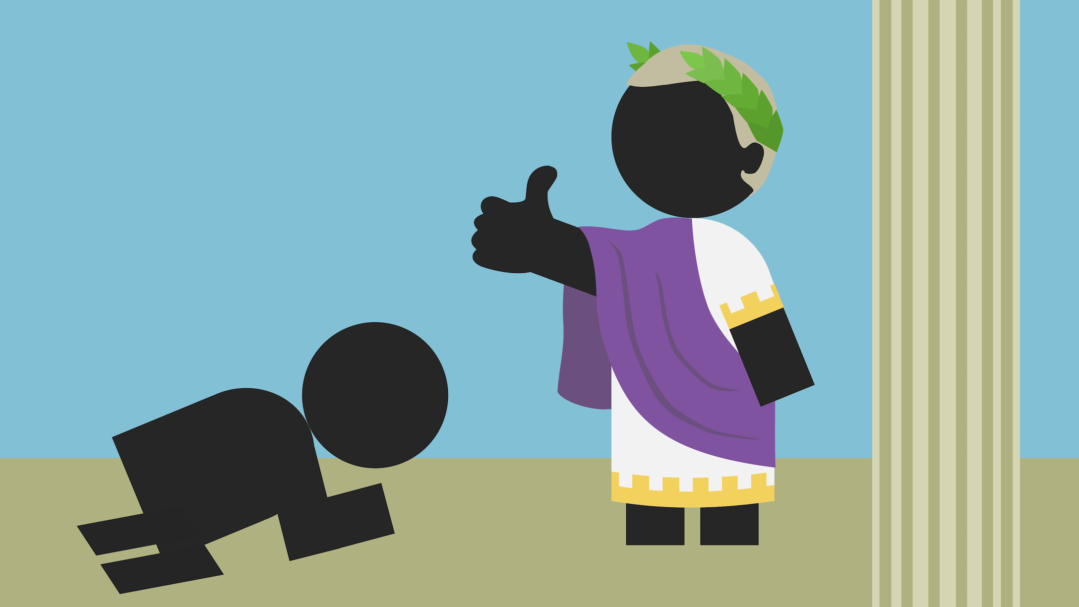 Roman emperor gives a thumbs up to a subject from the lower classes