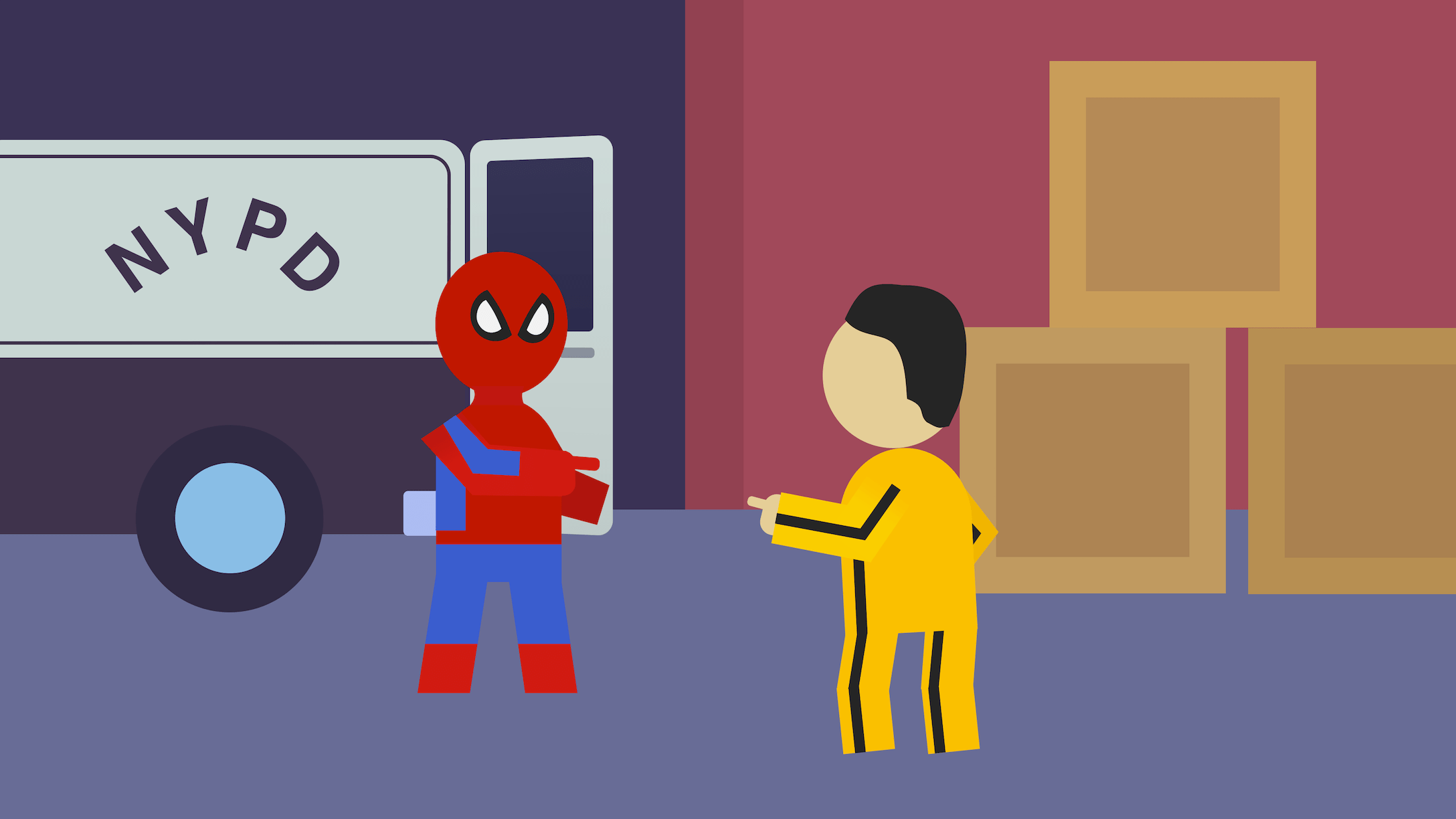 Spiderman and Bruce Lee point at each other