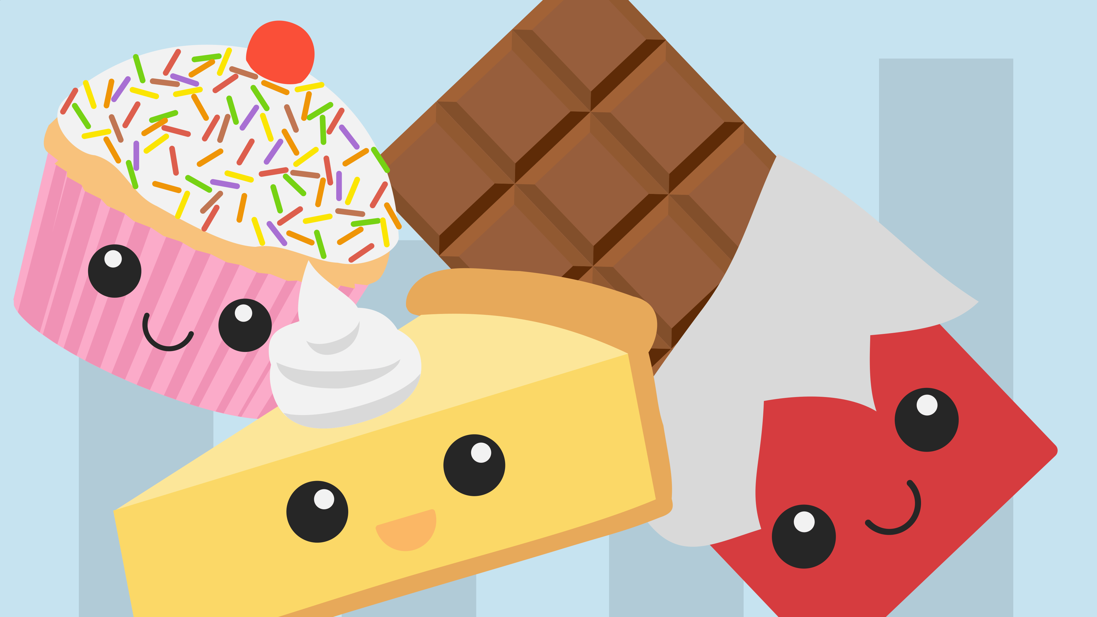 A happy cupcake, a happy pie and a happy chocolate bar