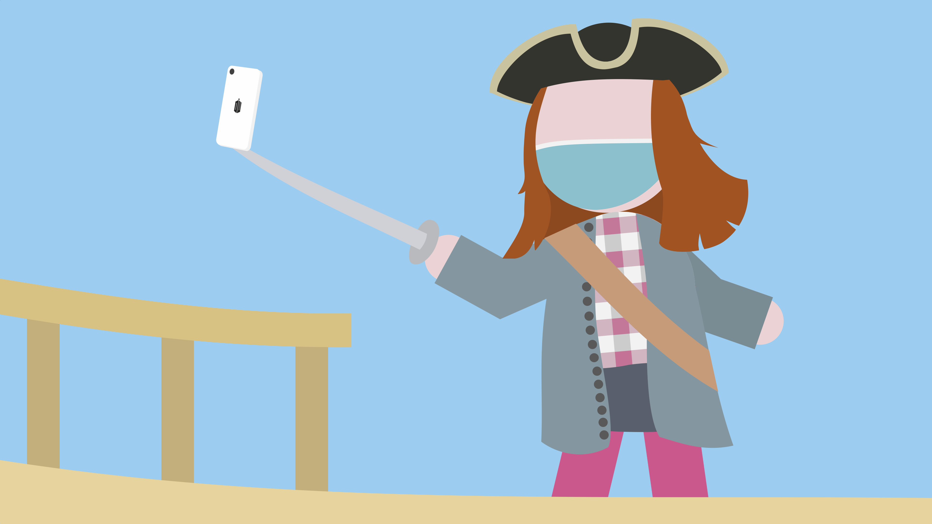 Face-masked pirate with a selfie stick boards a ship
